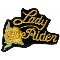 Yellow Lady Rider Rose Patch | Embroidered Biker Patches