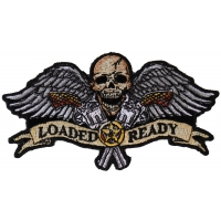 Loaded And Ready Skull Wings Guns Small Patch | Embroidered Patches