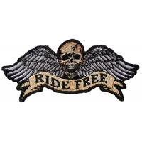 Ride Free Winged Skull Patch Small | Embroidered Biker Patches