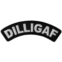 Dilligaf Black White Small Rocker Biker Patch | Embroidered Patches