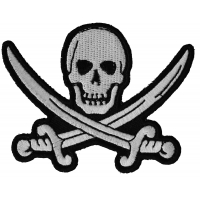White Pirate Sword Skull Patch | Embroidered Patches