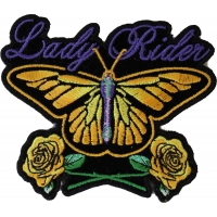 Lady Rider Butterfly With Yellow Roses Small Patch | Embroidered Biker Patches