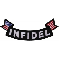 Infidel Large Lower Rocker Patch With Flags | US Military Veteran Patches