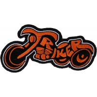 Triker Small Patch In Orange And Black | Embroidered Biker Patches