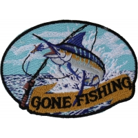 Marlin Gone Fishing Small Patch | Embroidered Patches
