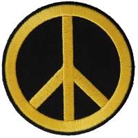 Peace Sign Patch  Yellow On Black