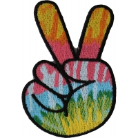 Colorful Peace Fingers Hand Sign Iron On Patch