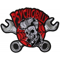 Psychobilly Skull and Wrenches Patch