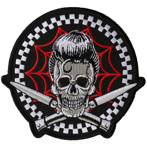 Embroidered Switchblades Billy Skull Spider Web Sew or Iron on Patch Biker Patch