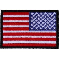Reversed American Flag with Black Borders Patch