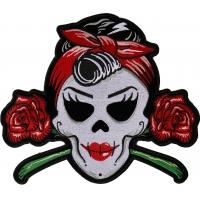 Rockabilly Lady Skull Large Patch