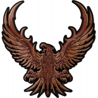 Brown Eagle Large Embroidered Iron on Patch