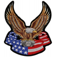 Eagle On American Flag Banner And Engine Patch Large | Embroidered Biker Patches