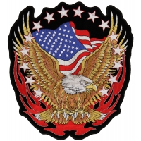 Eagle American Flag And Stars Patch Large