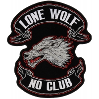 Lone Wolf No Club Original Back Patch | Embroidered Biker Patches
