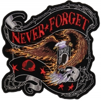 Never Forget POW MIA Eagle Patch Large Back Patch | US Military Veteran Patches