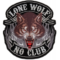 Lone Wolf No Club New Patch | Embroidered Biker Patches