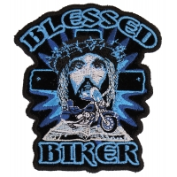 Blessed Biker Jesus Vest Pocket Patch Small | Embroidered Patches