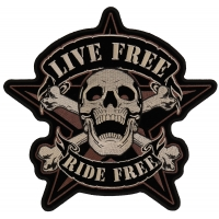 Live Free Ride Free Sherriff Star Patch Large | Embroidered Biker Patches