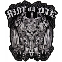 Ride Or Die Biker For Life Skull Vest Patch Large | Embroidered Biker Patches