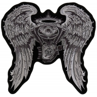Angel Wings And Engine Patch | Embroidered Biker Patches