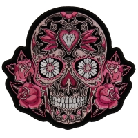 Pink Roses Sugar Skull Patch | Embroidered Patches