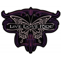 Live Love Ride Butterfly Ladies Back Patch | Embroidered Biker Patches