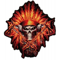 Firefighter Skull Native Large Back Patch | Embroidered Patches