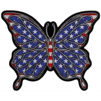 American Flag Color Butterfly Large Back Patch | Embroidered Patches
