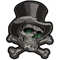 Green Eye Skull with Tall Hat Large Back Patch