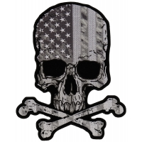 Subdued American Flag Skull Back Patch