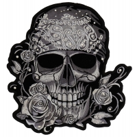 Gray Bandana Skull Patch With Roses And Rhinestones | Embroidered Patches