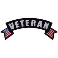 Veteran Top Rocker Patch With US Flag | US Military Veteran Patches