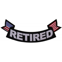 Retired Bottom Rocker With Flags Patch | US Military Veteran Patches