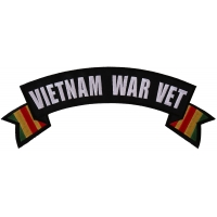 Vietnam War Vet Rocker Patch With Flags | US Military Vietnam Veteran Patches