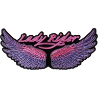 Lady Rider Wings Purple Large Back Patch | Embroidered Biker Patches