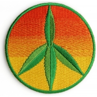 Peace Cannabis Leaf Iron on Hippie Patch
