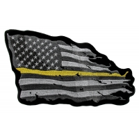 Thin Yellow Line American Tattered Flag Large Back Patch