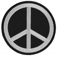 Black White Peace Sign Patch | Embroidered Patches