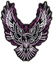Eagle Upwing Purple Flames Patch   Embroidered Patches