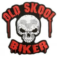 Old Skool Biker Skull Patch Large Back Patch   Embroidered Biker Patches