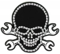 Large Wrench Chain Skull Patch   Embroidered Patches