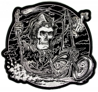 Grim Reaper Rider Biker Patch   Embroidered Patches
