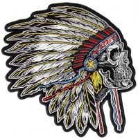 Indian Dress Head Skull Side Shot Large Back Patch   Embroidered Patches