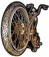 Big Wheel And Spokes Motorcycle Back Patch   Embroidered Biker Patches