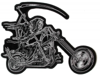 Reaper Riding Chopper Patch   Embroidered Biker Patches