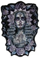 Praying Lady And Roses Back Patch   Embroidered Patches