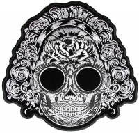 Black And White Sugar Girl Skull Vibes Back Patch   Embroidered Patches