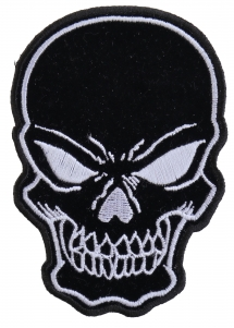 Small Black Skull and Cross Bones Biker Patch
