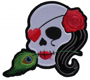 Embroidered Sugar Skull Face Girl with Top Hat Patch 7\u201d x 9\u201d inch by Twistedstitcher2018 Located in Abbotsford BC Canada